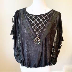Black lace Free people top tassels New Romantics